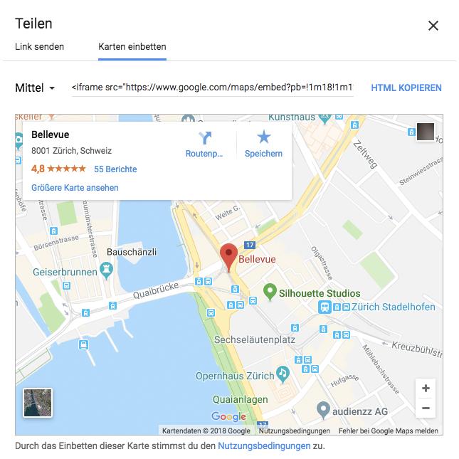 google maps api Bellevue, Zurich